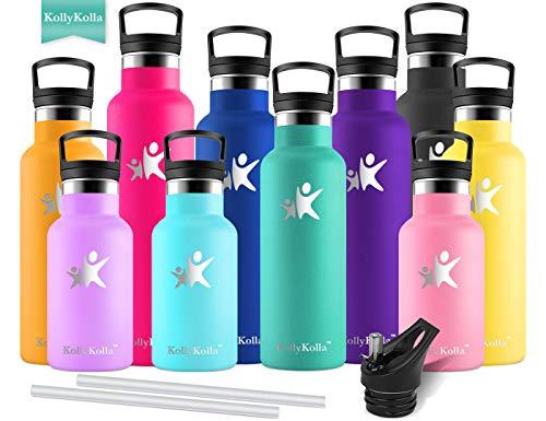 KollyKolla Vakuum-Isolierte Edelstahl Trinkflasche, 600ml BPA-frei Wasserflasche mit Filter, Thermosflasche für Kinder, Mädchen, Schule, Kindergarten, Sport, Wandern, Camping, Outdoor, Smaragd
