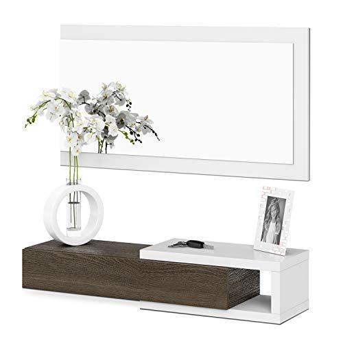 Habitdesign - Recibidor con cajón + Espejo, Medidas 19 x 95 x 26 cm de Fondo Blanco Brillo y Toscana...
