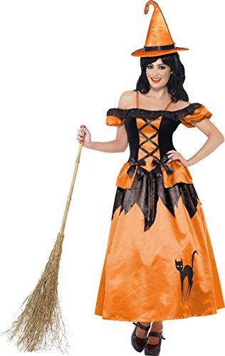 Märchenbuch Hexe Kostüm Orange mit Kleid und Hut, (Hut Hexe Orange)