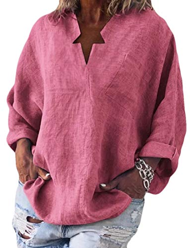 CuteRose Womens V-Neck Blouse Plus-Size Relaxed Pullover Long Sleeve Tee Shirt Pink S -