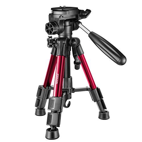 Neewer Mini Reise Tisch Kamera Stativ 62 Zentimeter, Leichtgewicht mit 3 Wege Schwenk Kopf für DSLR Kamera, Smartphones, DV-Video bis zu 3 Kilogramm (T210 Rot)