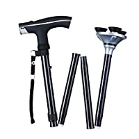 6*LED Light Walking Stick Sponge Handle Adjustable Folding Cane Walking Stick With Carrying Case (Black)
