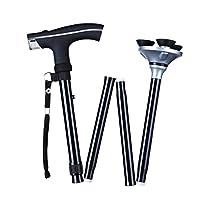 6*LED Light Walking Stick Sponge Handle Adjustable Folding Cane Walking Stick With Carrying Case (Black)