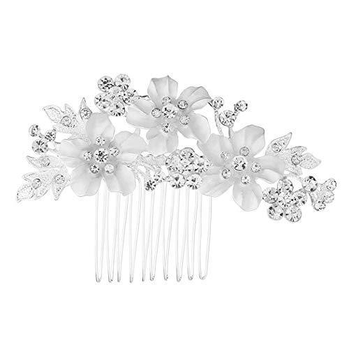 Mondora Braut Haarkamm Clip Blume Dame's Weiß Emaille Österreichischen Kristall Silber-Ton Klar