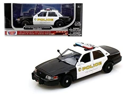 Motor Max New 1: 24 W/B American Classics Collection - White Black 2010 Ford Crown Victoria San Gabriel Police Diecast Model Car