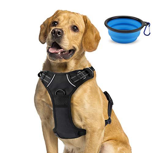 Imbracatura per cani traspirante, Imbracatura pettorale impermeabile con linee riflettenti, Imbracatura resistente con gilet imbottito regolabile per cani di taglia media/grande+Ciotola pieghevole blu