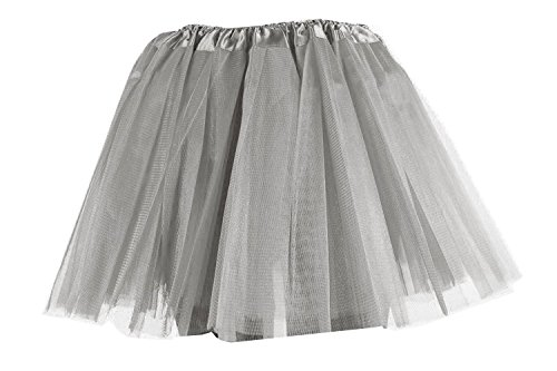 Damen Tütü Tutu Minirock Petticoat Tanzkleid Ballettrock Pettiskirt Unterrock in verschiedenen Farben (Silbergrau)