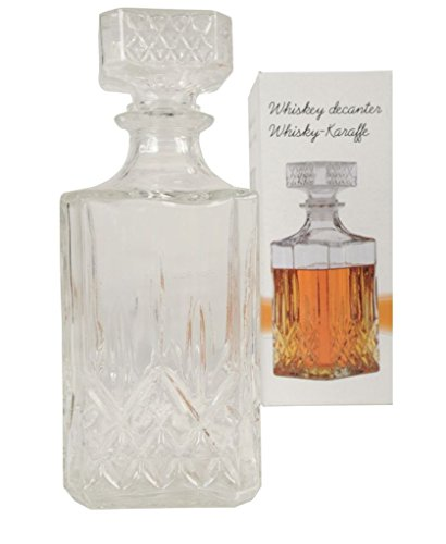 Price comparison product image GLASS WHISKEY SQUARE DECANTER BOTTLE BOXED SET