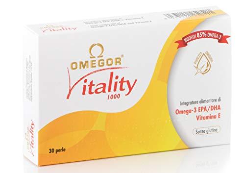 OMEGOR Vitality 1000 - NUOVO con 85% di Omega-3 TG! Certificato 5* IFOS dal 2006. EPA 500mg e DHA 250mg per perla. Struttura min. 90% Trigliceridi e distillazione molecolare, 30 cps