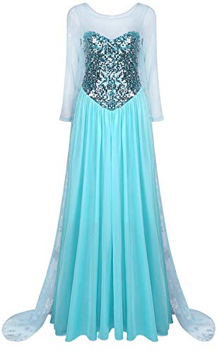 Agoky Femmes Maxi Robe Soirée Cérémonie Paillette Brillante Adulte Déguisements Reine des Neiges Cosplay Costume Halloween Party Fête Robe Princesse Noël Carnaval Jeune Fille Bleu Medium
