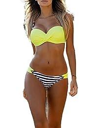 ZAIQUN Moda Rayas Ba?ador Ropa de Playa con Lunares Surf Trajes de Ba?o Conjuntos Para mujer