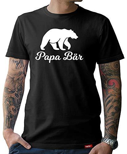 HARIZ Herren T-Shirt Papa Collection 36 Designs Wählbar Schwarz Vatertag Weihnachten Männer Geschenk Karte Urkunde Papa03 Papa Bär XL