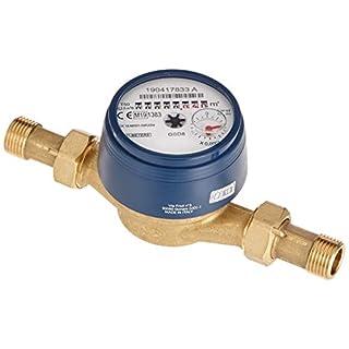 Sanitop-Wingenroth 14116 1 Wasserzähler für Aufputzmontage mit 2 Außengewinden,kalt, 1/2 Zoll