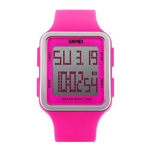 Reloj digital deportivo para mujer (cuadrado, resistente al agua y multifuncional, correa de silicona suave, números fáciles de leer, resistente al agua y a los golpes),color rojo rosa