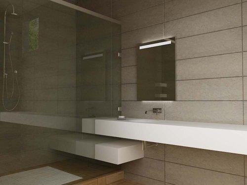 Specchio da bagno moderno illuminato con sensore con deumidificatore e presa per rasoio - Deumidificatore per bagno ...