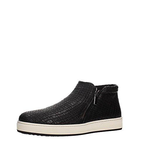 Chaussures FRAU 21R3 hommes noirs espadrille milieu charnières haute en cuir Nero