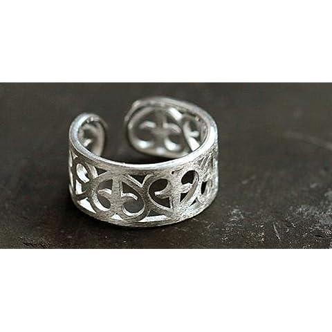 SUYA Handmade/donna/925 Silver/argento/trafitto cuore/anelli/aperture/ridimensionabile/regali