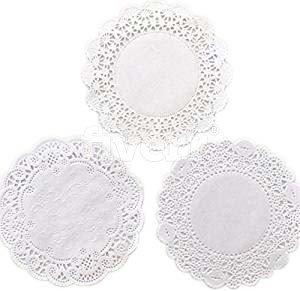 The Baker Celebrations 4 Zoll (10cm) Runden Papier Spitze Tabelle Deckchen Dekorative Geschirr Einweg Papiere Tischsets, zum Servieren von kleinen Leckereien oder wälzen Besteck 150-pack Weiß -