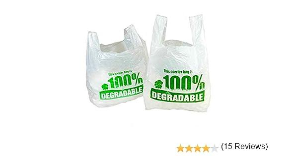 grands sacs en plastique respectueux de lenvironnement Sacs de transport 100 /% d/égradables blancs de 28 x 43 x 53 cm 11 x 17 x21 blanc//vert plastique