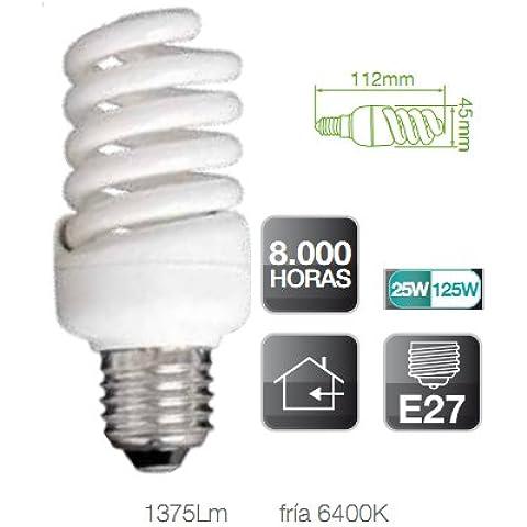 Pack-Lote 3 Unidades, Lámpara Bombilla bajo consumo Espiral - 25W, E27, 220-240V, luz fría 6400K, 1375 Lumens