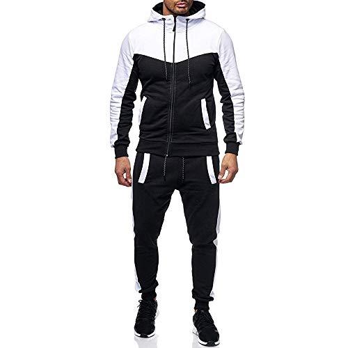 AMUSTER_ Homme Ensemble Sportwear Tenue de Sport 2 Pièces Pantalon de Sport Sweatshirt à Capuche Uni Zippe Manches Longues Ensemble à Capuche et Pantalon (Noir, M)