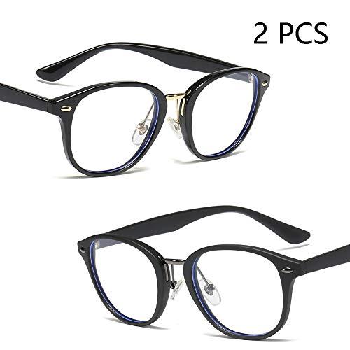 Anti-Blau Brille Brille, Tr90 Retro Reis Studs Runde Art Und Weise Brillengestell Für Männer Und Frauen, Justierbare Nasenpads (2ST),C1+C2