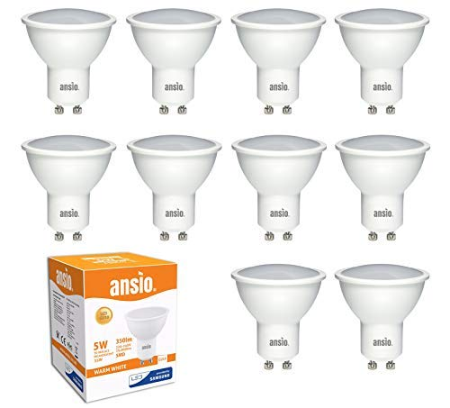 GU10 LED Glühbirne Warmweiß, 5 W ersetzt 35 Watt Halogen nicht dimmbar, 350 Lumen, 3000 K, 120 ° Abstrahlwinkel - 10 Stück | LED von Samsung | Nicht mit Dimmer verwenden