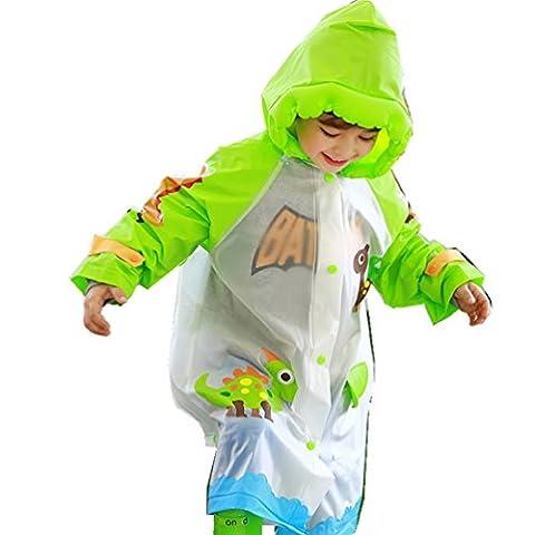 Inflatable brim student raincoat poncho boys and girls Universal,green