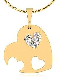 IskiUski Crunchy Heart Love 14Kt Diamond Yellow Gold Pendant Yellow Gold Plated For Women