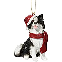 Design Toscano Christmas Ornaments - Xmas Border Collie Holiday Dog Ornaments - Christmas Decorations