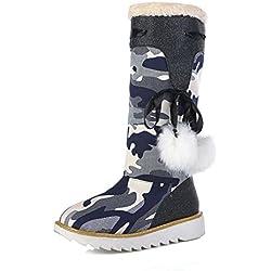 Mujeres Rodilla alta Botas de nieve Mezclilla Camuflaje Ocio Cómodo Mantener caliente Plano parte inferior gruesa Antideslizante Otoño invierno Al aire libre , Blue , EUR 36/ UK 3.5-4