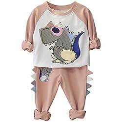 MYQyiyi Traje suéter lindo de la historieta para niño niña impresión del dinosaurio (7T, Rosa)