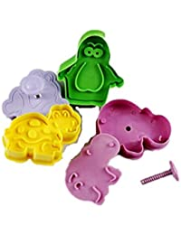 Auket 4x3D Dinosaur Hippo grenouille Penguins Déco Fondant Cookie Cutter Moule à sucre de l'artisanat # 124 (3DMold-124)