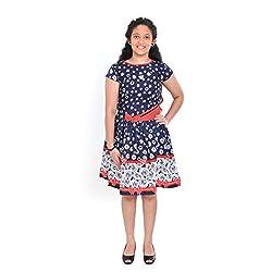Saarah Navy Blue Cotton Frocks For Girls (EMP3045)