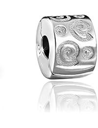 MATERIA Schmuck Silber 925 Bead Stopper Clip Kringel - Silber Element für Beads Armbänder mit Gewinde #244