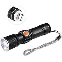 Flashlight,Ledgle LED Fuoco Regolabile+Torcia Potente3 modalità di illuminazione+Torcia Elettrica Con Batteria e Caricabatteria per Caccia Campeggio Escursione ,ricarica USB