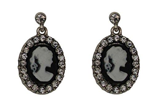 Trachtenschmuck Dirndl Gemme Kamee Ohrstecker - auch Gothic - Ohrringe schwarz - Crystal klare Strasskristalle