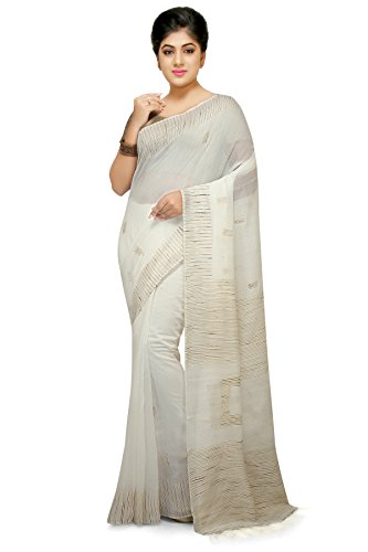 Wooden Tant White Box Ghicha Handloom Cotton Silk Saree With Hand Weaved...