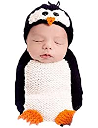 DELEY Bebé Niños Niñas Crochet Cosplay Traje de Pingüino Lindo del Bebé de la Ropa del Traje de la Foto Puntales de 0-6 Meses