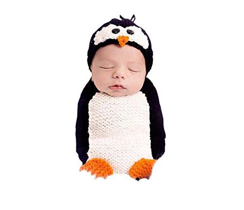 DELEY Baby Jungen Mädchen Häkeln Cosplay Pinguin Kostüm Niedlichen Baby-Kleidung Outfit Foto Requisiten 0-6 - Pinguin Baby Kostüm