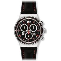 Swatch YVS404 - Orologio da polso uomo, pelle, colore: nero - Swatch Irony Cronografo