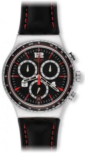 Swatch YVS404 - Reloj cronógrafo de cuarzo para hombre con correa de piel, color negro