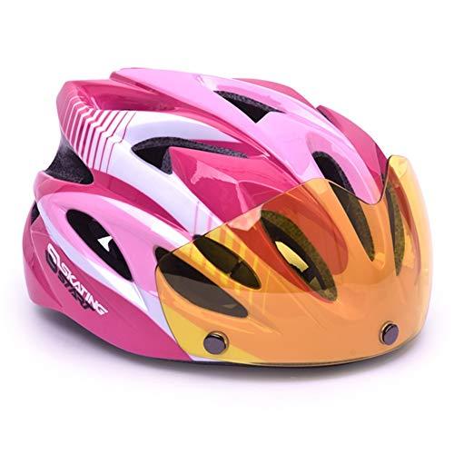 LIQICAI Helm for Kinder/Jugendliche/Kinder CPSC-Zertifiziert Leicht Einstellbar Mit PC-Brille for Skateboard Longboard Roller Skaten/Inlineskaten Radfahren (Color : Pink, Size : M)