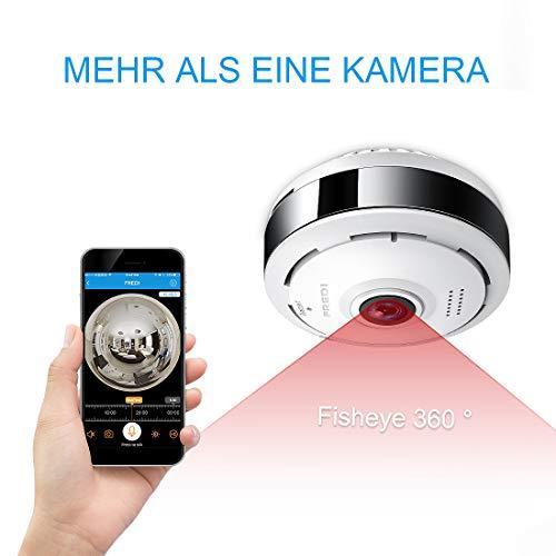 FREDI 3MP Panorama Fisheye WLAN Dome Videoüberwachungskamera mit IR Nachtsicht/Bewegungsmelder Innenbereich WLAN 360° Sicherheitskamera für Home Mobile App (EC6)