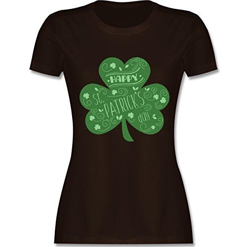 Shirtracer St. Patricks Day - Happy St. Patricks Day Kleeblatt - Damen T-Shirt Rundhals Braun