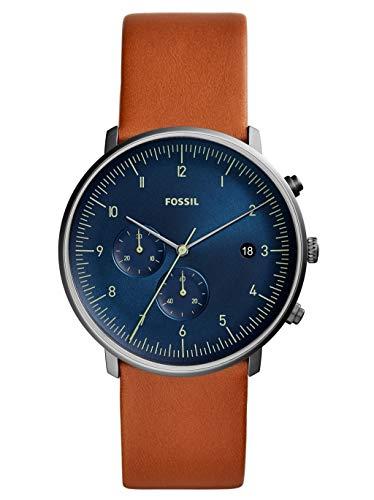Fossil Herren Chronograph Quarz Uhr mit Leder Armband FS5486