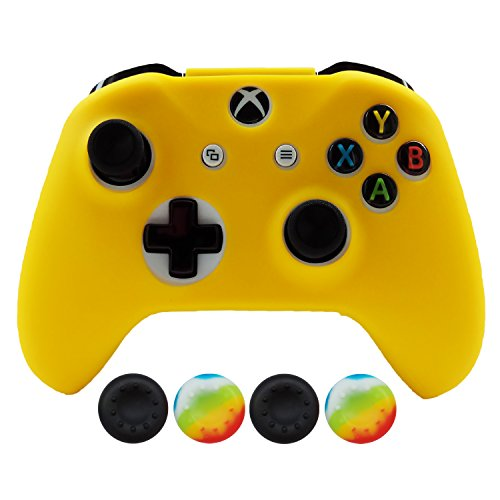 Hikfly Silicona Controlador Cubrir Piel Protector Caso Placas Frontales Kits con 4pcs Thumb Grips Kit para Xbox One Slim / S Controller(Amarillo)
