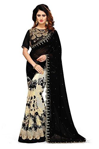 Sunshine Fashion Women\'s Georgette, Mono Net Saree With Blouse Piece (Black_FreeSize)