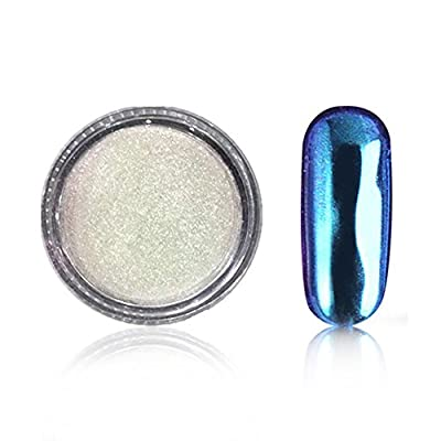 Meicailin Chameleon Colour-changing Mirror Chrome Powder Pigment Nail Glitter Effect Nail Art Shine Manicure Salon Tips 1g/Box with Sponge Stick