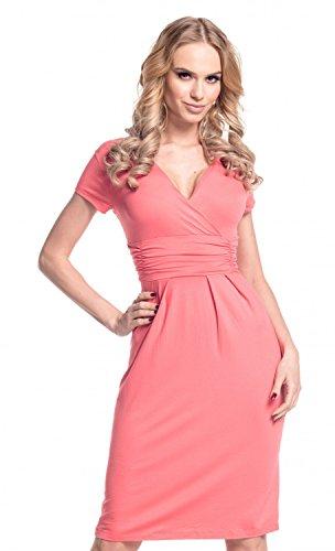 08953ba17db3 Glamour Empire donna abito a matita eleganti vestito estivo scollo a V 573 ( Corallo